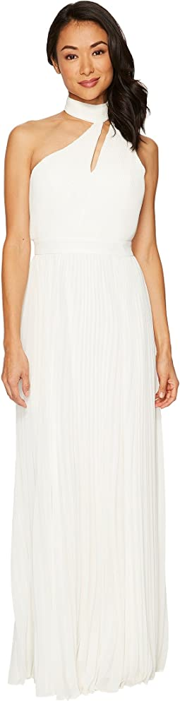Laundry by Shelli Segal One Shoulder Mock Neck Shirred Chiffon Gown