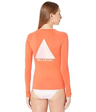 Billabong Surfadelic Long Sleeve Rashguard (Hot Coral) Women