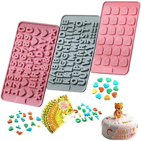 """Moldes de silicona para chocolate, diseño de letras y números, con texto en inglés """"Happy Birthday"""", para pastel, dulces, gelatina, 3 unidades, color rosa y azul"""