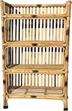 All INDIA HANDICRAFTS Natural Finish Cane Bamboo Rack of 4 Shelves for Books and Shoes, 64 x 30 x 102 cm