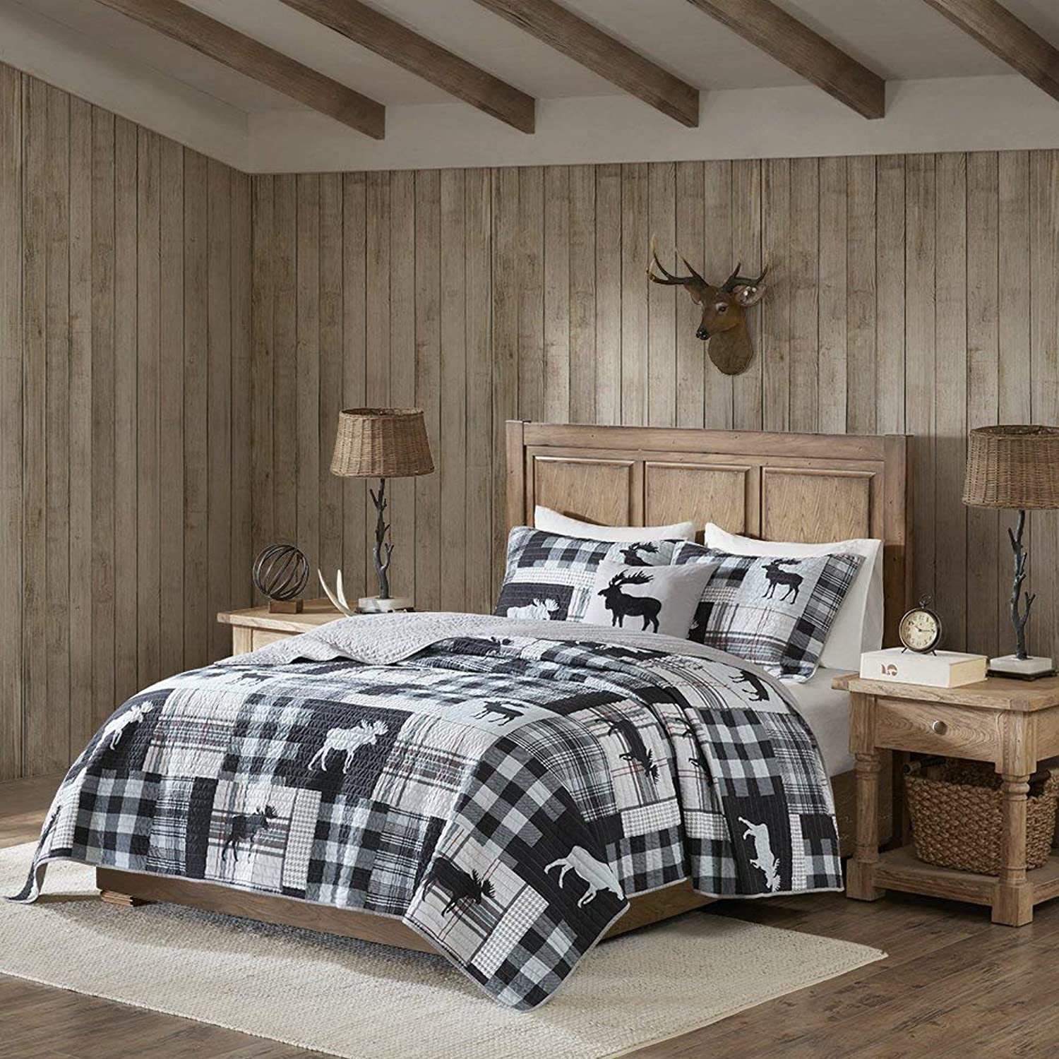 Woolrich Sweetwater Quilt Set, Black Grey