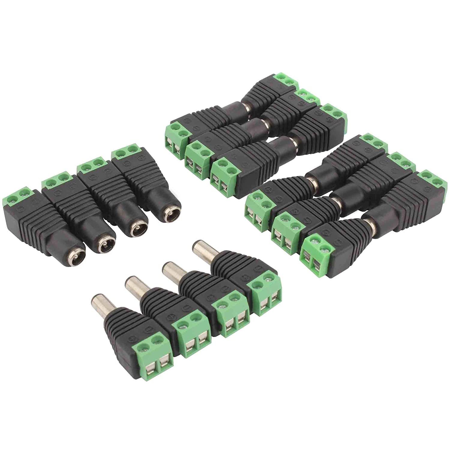 ACTOO DC Power Connector Jack Adapter for CCTV Security Camera LED Strip Male Female Plug 5.5mm x 2.1mm (Pack of 10 Pairs)