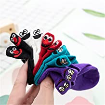 5 Pairs Kawaii Embroidered Expression Children Socks Cotton Fruit Happy Funny Socks Kids Ankle Size 1-9Y 909 (Color : Smil...
