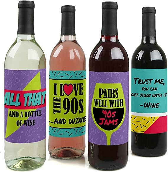 90's Throwback - 1990s Wine Party Decorations for Women and Men - Bottle Label Stickers - Set of 4