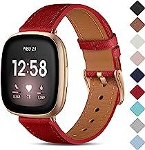 CeMiKa Lederen Bandje Compatibel met Fitbit Sense/Fitbit Versa 3, Vervangende Lederen Band Compatibel met Fitbit Sense/Fit...