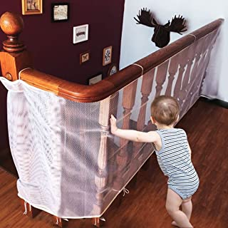 Winkeyes Children Safety Rail Balcony Stairs Safety Net Banister Stair Net for Kids/ Pet/ Toy Safety on Indoor/Outdoor Stairs, Balcony, or Patios, 9.8 x 2.5 ft