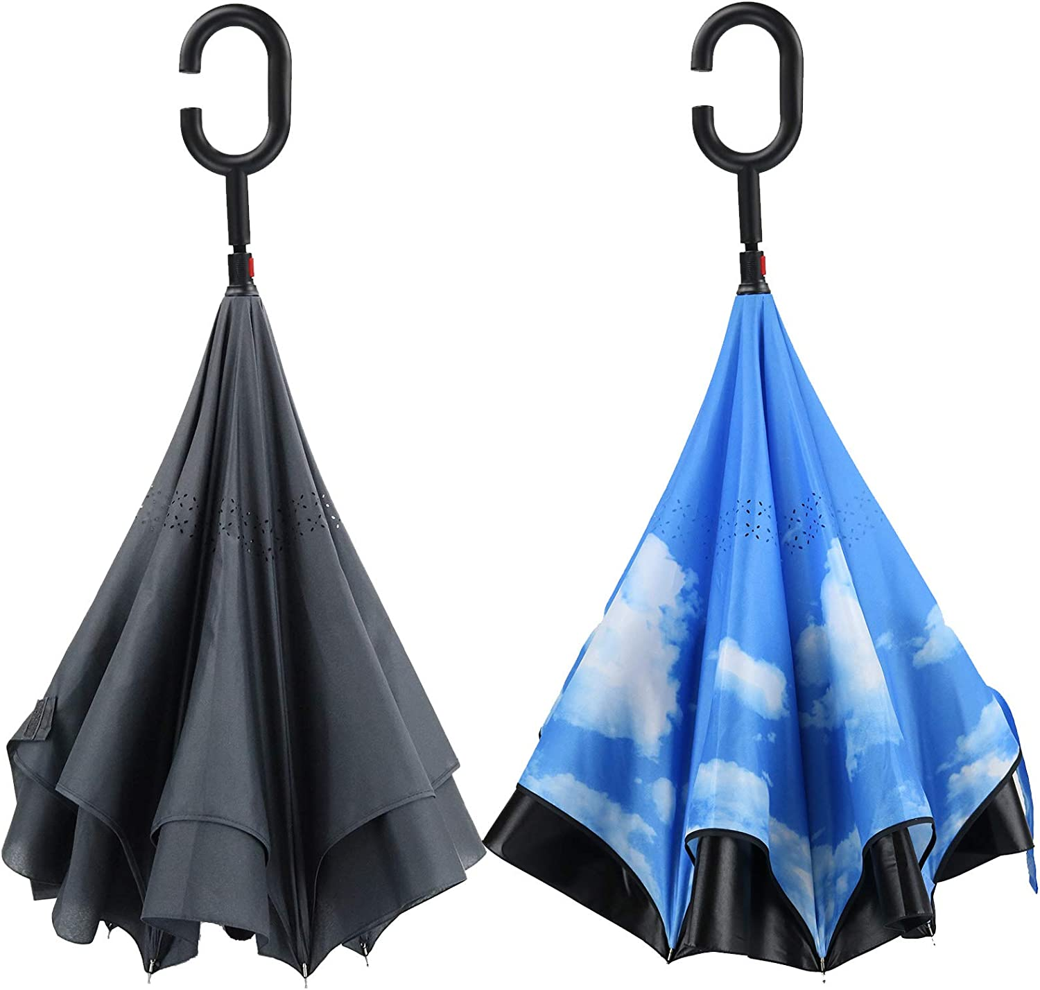 PFFY Safety and trust 2 PACK 48 Inch Ranking TOP7 Inverted Foldi Reverse Layer Double Umbrella