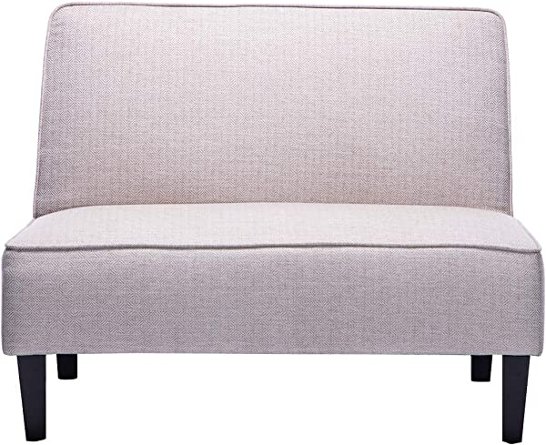 Cushioned Linen Armless Settee Loveseat Sofa Couch Home Casual Living Room Sleeper Beige Pattern
