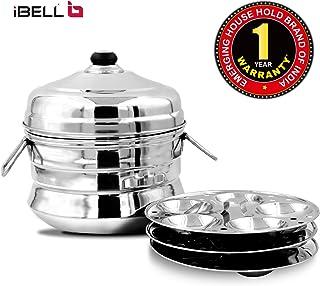 iBELL IP13P3SM High Food Grade Idly Pot Stainless Steel, Idli Pot with Steamer & Mini Idli Plate, 3 Idli Plates (13 Idlyes)