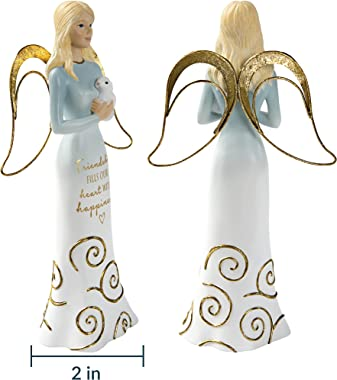 Pavilion Gift Company 7.5 Inch Resin Angel Figurine Friendship Fills Our Heart with Happiness, Gold