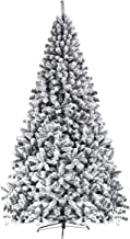 Goplus Artificial Christmas Tree, Snow Flocked Hinged Pine Tree, Premium PVC Needles/Solid Metal Stand, Xmas Full Tree for Indoor and Outdoor (7.5FT)