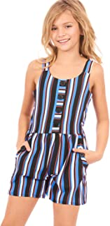 Truly Me, Big and Little Girls' Printed Sleeveless Spring/Summer Romper with Overlay Detail, Size 4-6X, 7-16