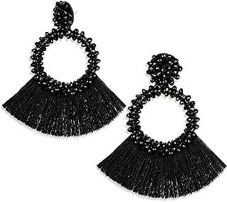 Une Douce Beaded Tassel Earrings for Women, Big Hoop Dangle Fringed Drop Earrings Boho Statement, Gift Ideas for Women, Girls, Mon, Wife and Friends