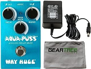 Way Huge WM71 Mini Aqua-Puss Analog Delay Pedal Bundle w/Power Supply and Cloth