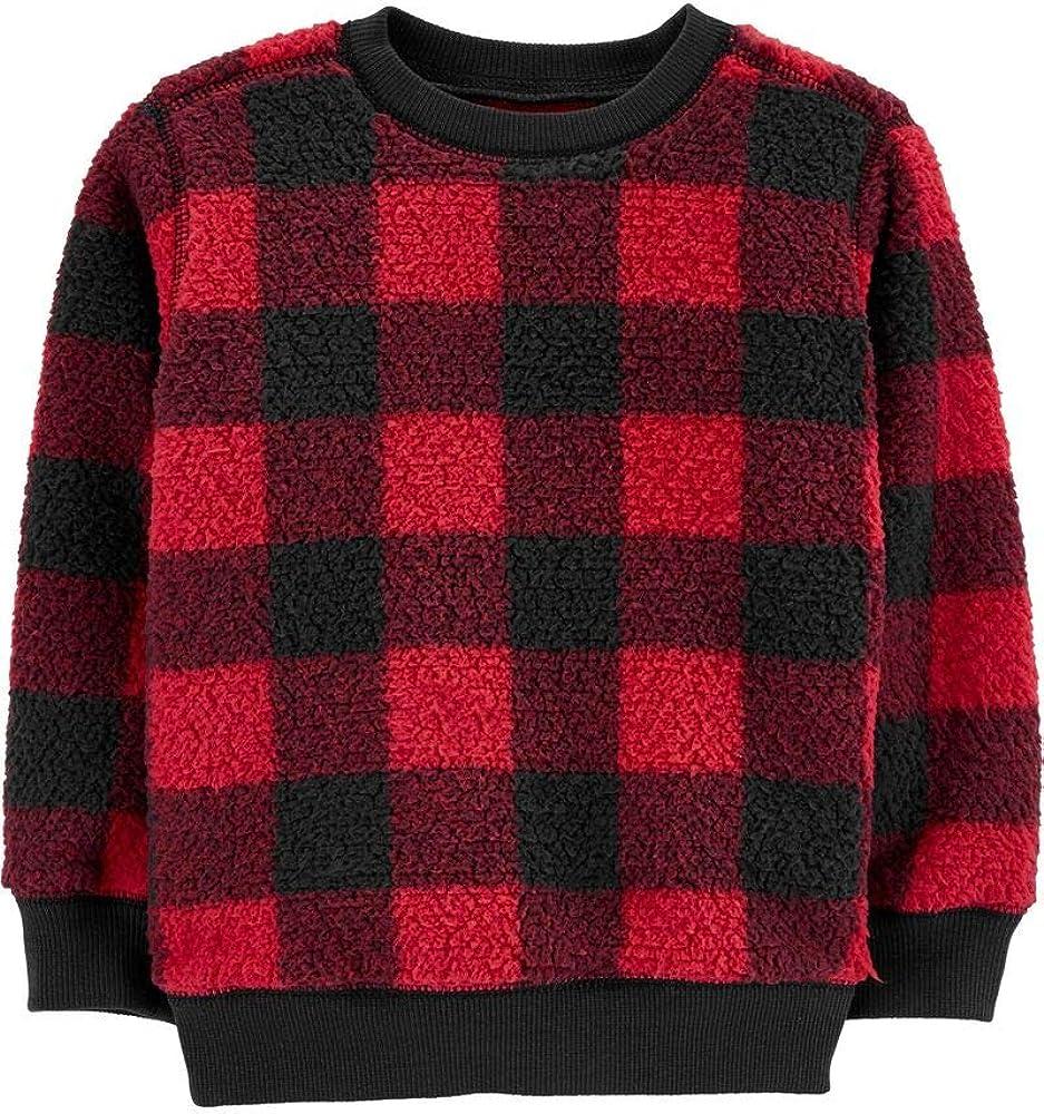 Buffalo Check Sherpa Pullover Sweatshirt, 2T Red