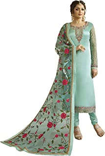 INFOTECH Women's Georgette Satin SEMI-STICHED Salwar Suit