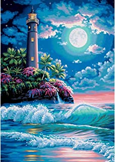 DIY 5D Diamond Painting by Number Kits, Crystal Rhinestone Diamond Embroidery Paintings Pictures Arts Craft for Home Wall Decor,Colorful Lighthouse and Sea Under The Star (J5685KTDT-11.8X15.7in)