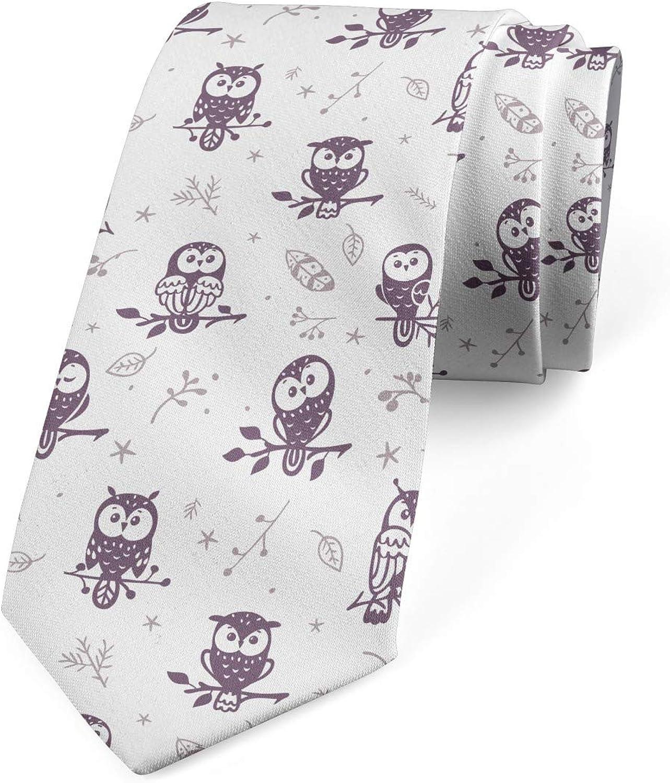 Ambesonne Men's Tie, Owls on the Branch, Necktie, 3.7