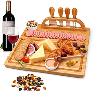 Bamboo Cheese Board Set Cheese Plate Board with Cutlery Set, Wood Serving Tray and Charcuterie Platter includes 4 Stainless Steel Knife and Server Set, Perfect Gift for Birthdays, Wedding, Christmas