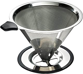 Stainless Steel Pour Over Coffee Cone Dripper with Cup Stand - Perfect for Manual Brewing - Ultra Fine Micro Mesh Filter - Paperless and Reusable - BONUS: Coffee Scooping Spoon + Cleaning Brush