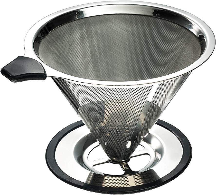 Stainless Steel Pour Over Coffee Cone Dripper With Cup Stand Perfect For Manual Brewing Ultra Fine Micro Mesh Filter Paperless And Reusable BONUS Coffee Scooping Spoon Cleaning Brush