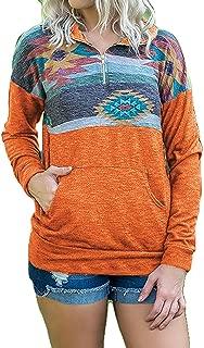 Artfish Women's Camo Aztec Printed Quarter Zip Pullovers Sweatshirts with Pocket