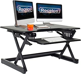 Rocelco EADRB2 Standing Desk Converter - Side Paddle Easy Height Adjustable Sit Stand Desk Riser - Dual Monitor Capable - ...