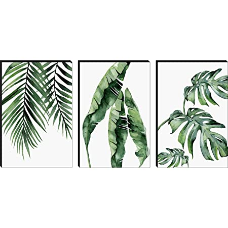 SAF Set of 3 Preety Green Leaf Modern Art MDF Self Adhessive UV Textured Painting 27 Inch X 12 Inch(Each Painting Size 12 Inch X 9 Inch) PHC30197