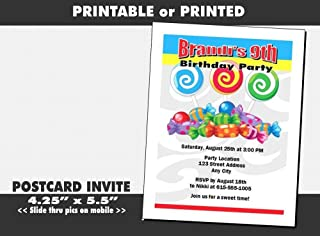 Candyland Birthday Party Invitation, Printable or Printed Option