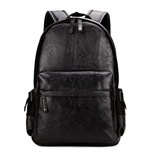 Kenox Vintage PU Leather Backpack School College Bookbag Laptop Computer  Backpack - Black 8845ae99ddfb3