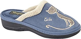 comprar comparacion Boulevard - Zapatillas de estar por casa abiertas con bordado de gato para mujer
