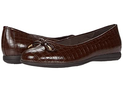 Trotters Dellis (Dark Brown Croco Veg Calf Leather) Women
