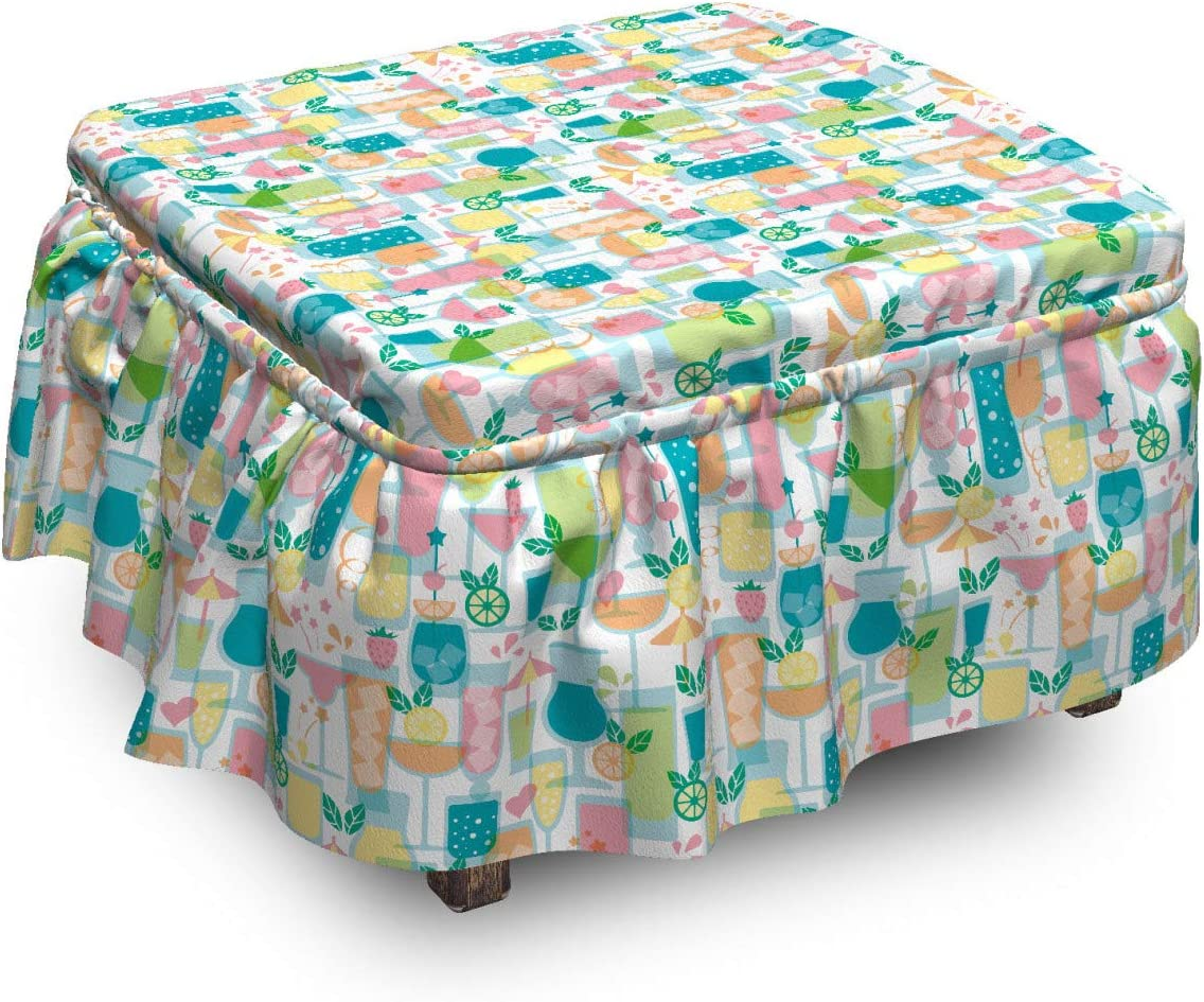 Phoenix Mall Ambesonne Summer Ottoman Free shipping anywhere in the nation Cover Different Beverages Cold Piec 2