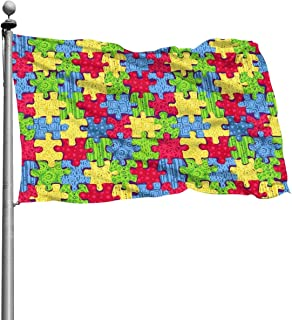 Autism Awareness Love Puzzles Background Yard Garden Flag 4x6 Foot Banner with Brass Grommets Indoor Outdoor House Boat Decor Black