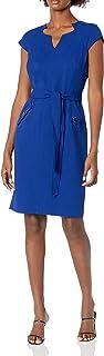 Kasper Women's Stretch Crepe V Neck Cap Sleeve Belted Dress