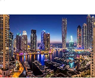 Mshzf Diy 5D Diamond Painting Kit Cross Stitch Kits Dubai Modern City Night View Diy Full Round Mosaic Embroidery Rhinesto...