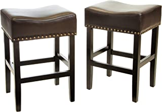 Christopher Knight Home Chantal Backless Counter Stools with Brass Nailhead Studs, Set of 2, Brown