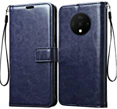 Tingtong Vintage Leather Flip Cover Case for OnePlus 7T | Inner TPU | Foldable Stand | Wallet Card Slots - Dark Blue