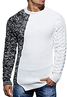 Karlywindow Mens Slim Fit Crew Neck Thick Sweaters Color Block Stylish Big and Tall Knit Pullovers