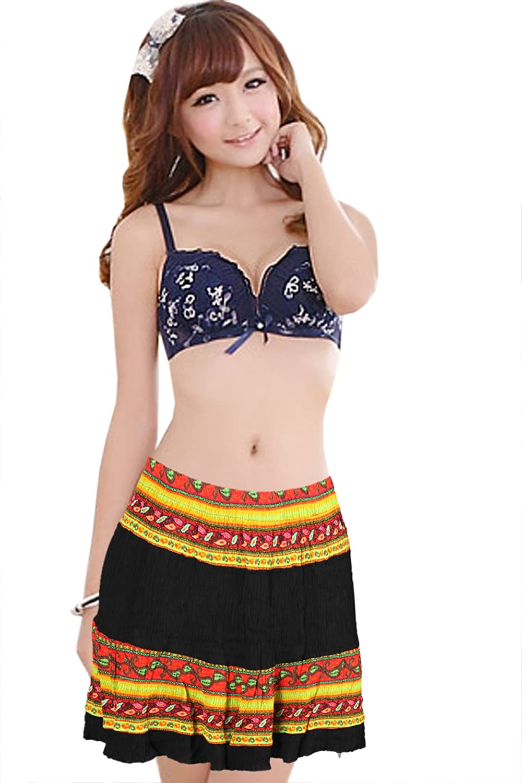 Mojeska Women's Multi Exotic Pattern Crinkle Mini Skirt Beach Summer Casual Wear