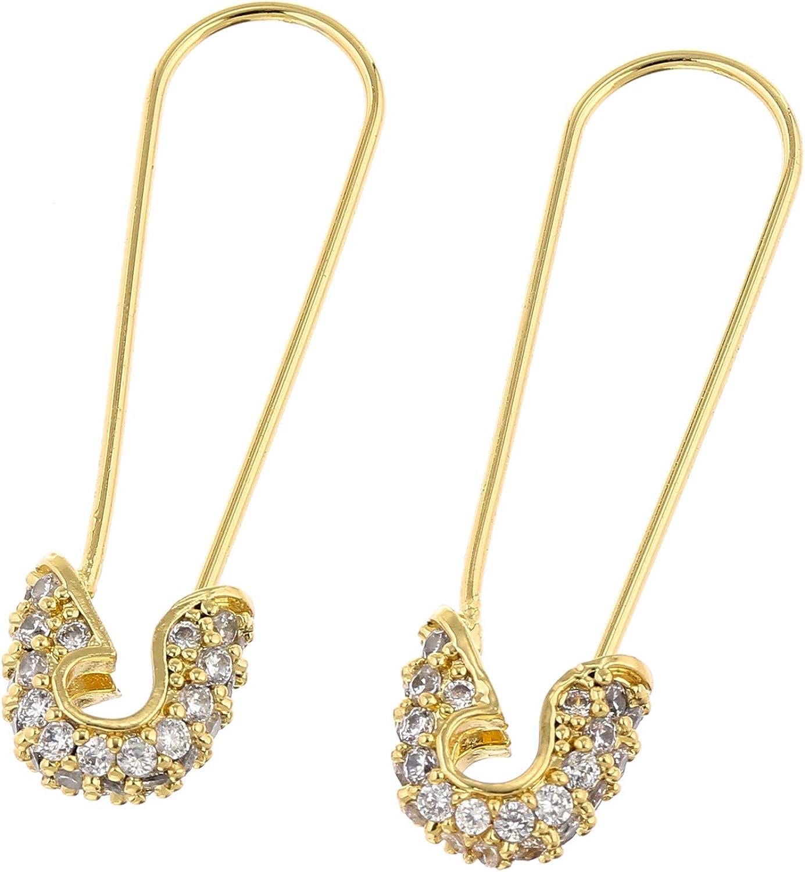14k Gold Plated Cube Zircon Dangle Drop Earrings Hypoallergenic Hoop Earrings for Women Gift