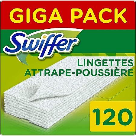 Swiffer Recharges Lingettes Sèches, 3x40 (120) Lingettes Nettoyantes, pour Balai Swiffer, Attrape et Retient la Poussière