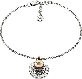Emporio Armani Women Cubic Zirconia Lyre Silver Disc Drop Bracelet
