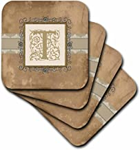 3dRose CST_186366_3 T Initial Vintage Elegant Vines & Flowers in Sepia & Pewter Look Ceramic Tile Coasters, (Set of 4)