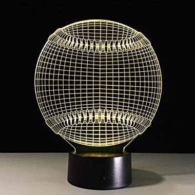 DGTJSISHIJIU 3D Baseball 3D Lumière Chapeau Sport 7 Changement De Couleur LED Nuit Tactile Lampe De Table De Bureau Enfant En