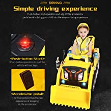 Flurries-Toys Ride-On Bulldozer - Manned Remote Control Electric RC Mini Crawler Construction Truck - Manual/Parental Remote Control Dual Modes - 3 Speeds LED Lights MP3 Port Music(Ship from US!!!)