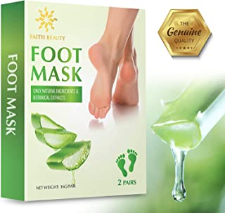 Faith Beauty Foot Peel Mask - 2 Pack - For Cracked Heels, Dead Skin & Calluses - Make Your Feet Baby Soft & Get Smooth Silky Skin - Removes Rough Heels, Dry Skin - Natural Treatment - Cruelty-Free
