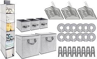 GOLOHO Nursery Organizer and Storage Closet Set (50 Pieces), Chevron Pattern, Grey and White
