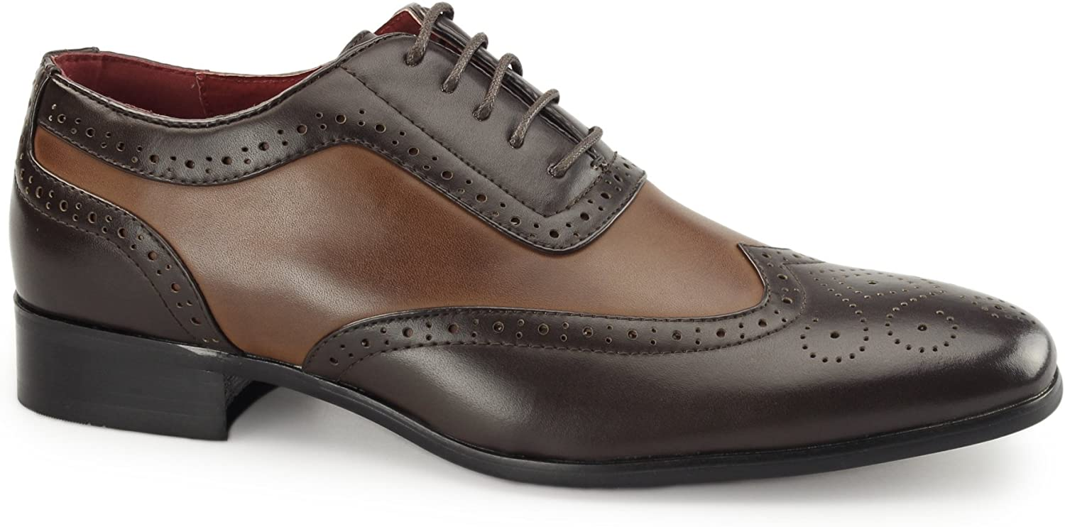 Shuperb FABRIO Mens Faux Leather Brogue shoes Brown