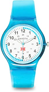 Dakota Easy Clean Water Resistant Plastic Nurse Watch with Lightweight Translucent Color Band